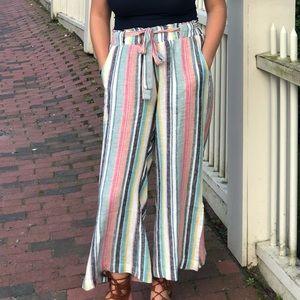 Linen Striped Tie-Waist Pants